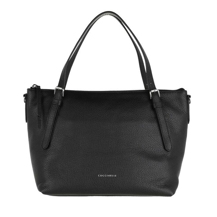 bags, Coccinelle, Satchel Bag Grained Leather Noir