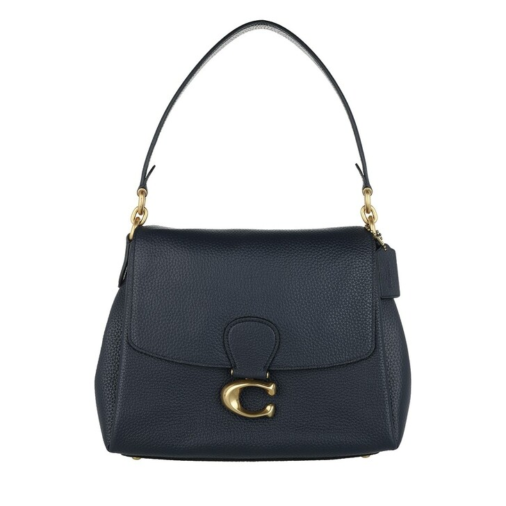 bags, Coach, May Shoulder Bag Pebbled Leather Midnight Navy