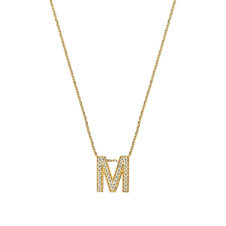 Kette, BELORO, Necklace Letter M Zirconia Gold-Plated