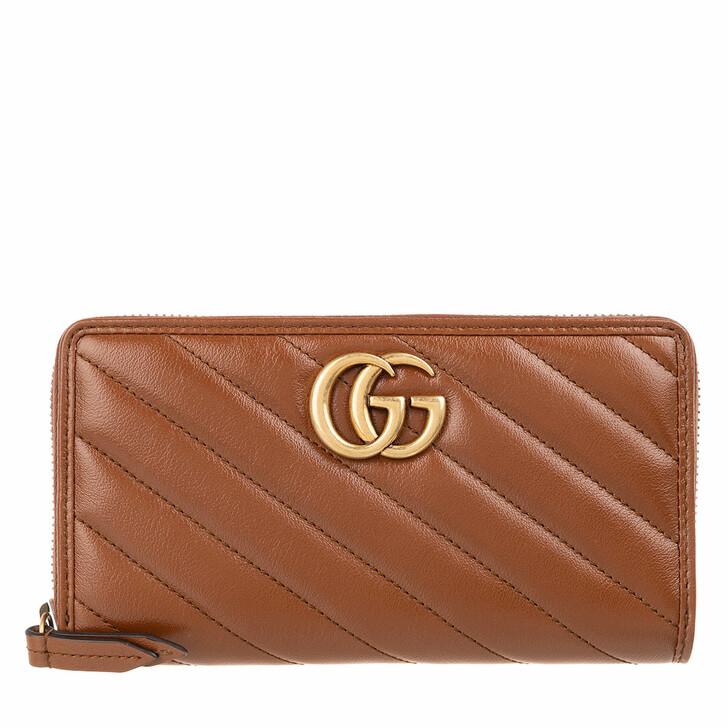 Geldbörse, Gucci, GG Marmont Zip Around Wallet Matelassé Leather Brown
