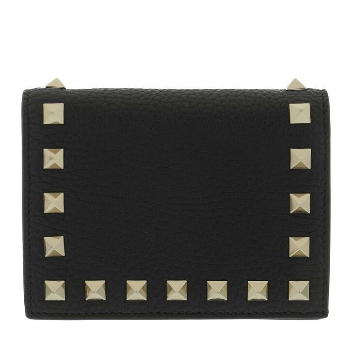 Geldbörse, Valentino, Rockstud Small Wallet Black
