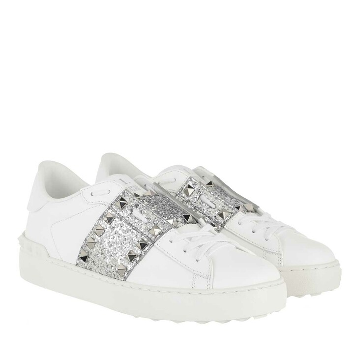 Schuh, Valentino, Rockstud Sneakers Leather Bianco/Silver