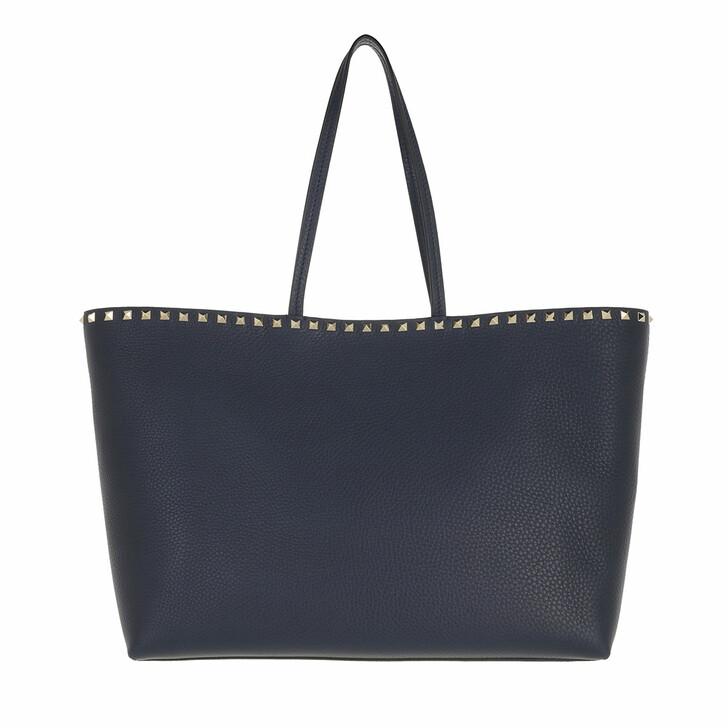 bags, Valentino Garavani, Rockstud Studded Shopping Bag Leather Navy