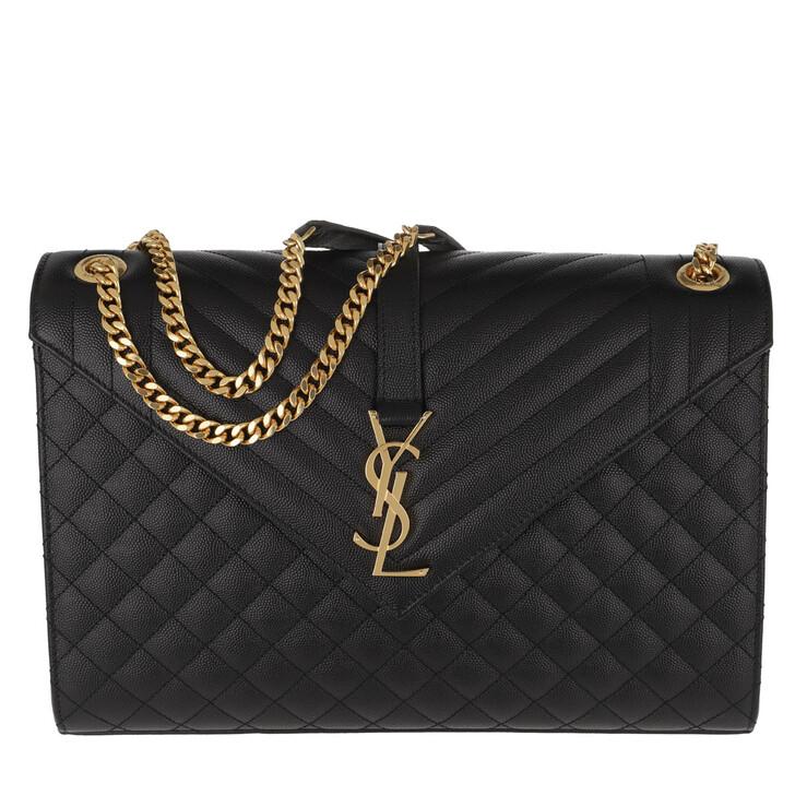 Handtasche, Saint Laurent, YSL Monogram Envelope Chain Shoulder Bag Black