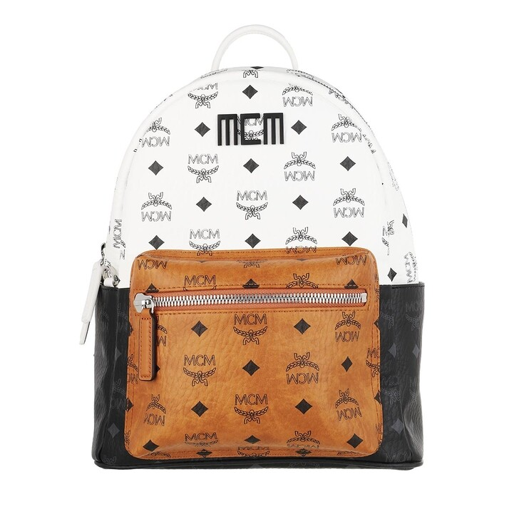Reisetasche, MCM, Stark Visetos Mix Backpack White
