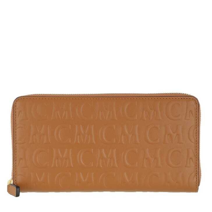 wallets, MCM, MCM Monogramme Leather Zip Wallet Large Cognac