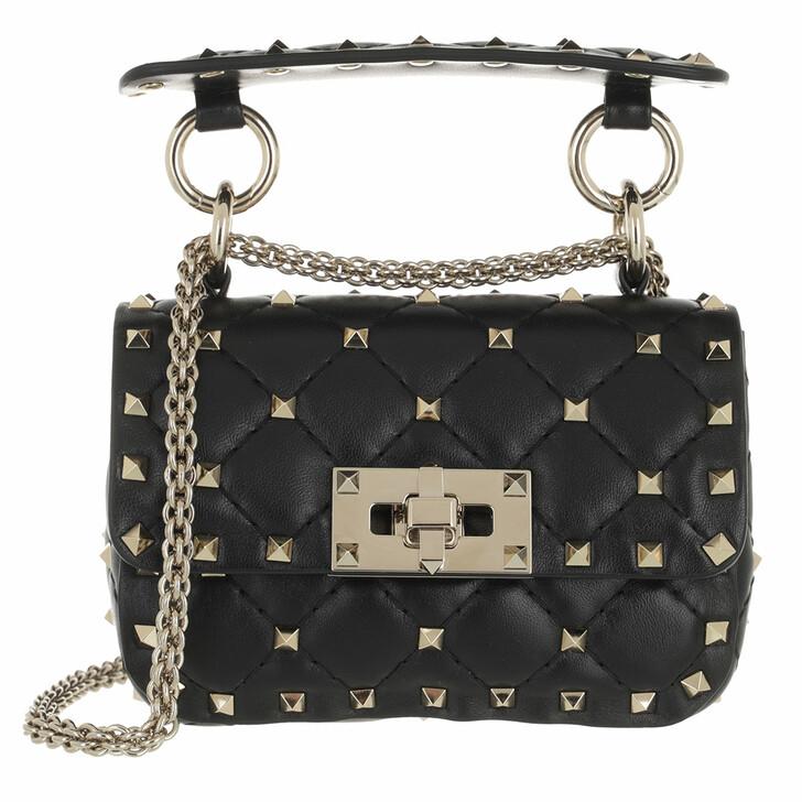 bags, Valentino Garavani, Micro Rockstud Spike Shoulder Bag Black