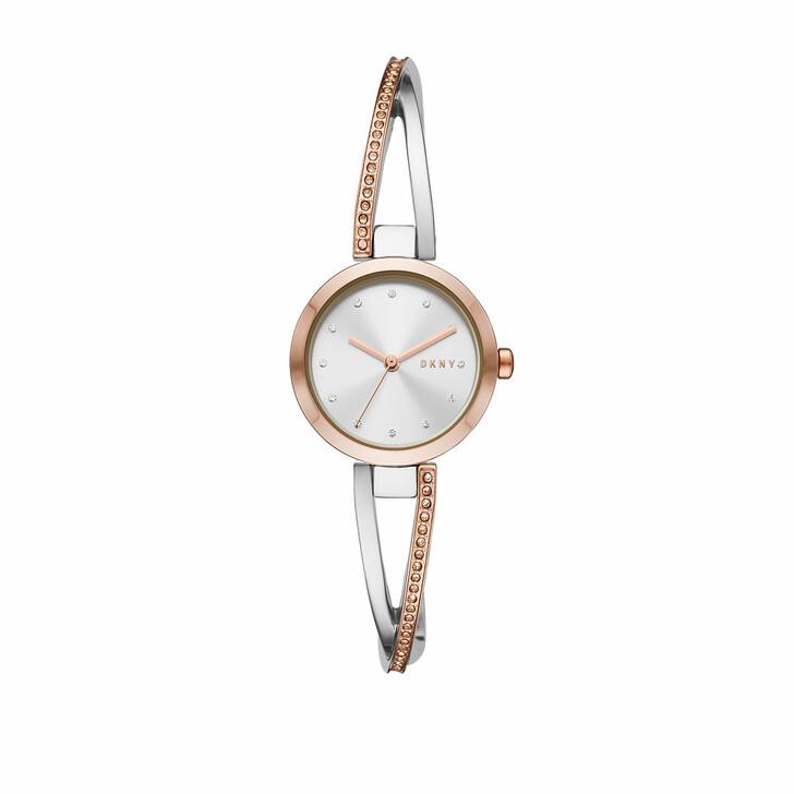 Uhr, DKNY, Crosswalk Three-Hand Stainless Steel Watch Silver/Rosé