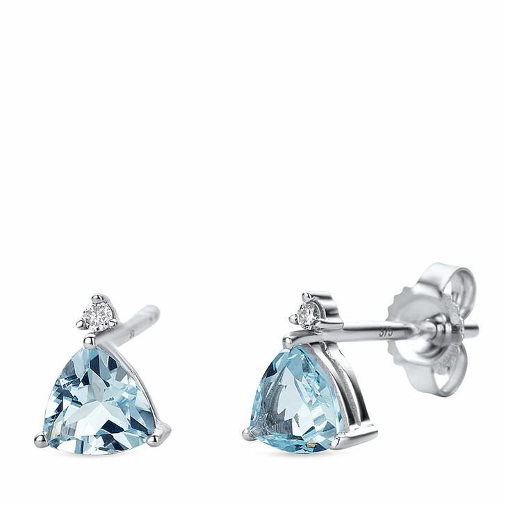 earrings, DIAMADA, 9KT Earrings with Diamonds and Aquamarine White Gold