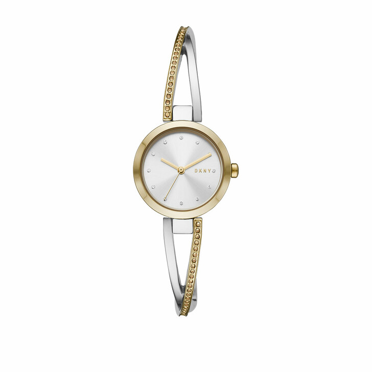 watches, DKNY, Crosswalk Three-Hand Stainless Steel Watch Silver Gold