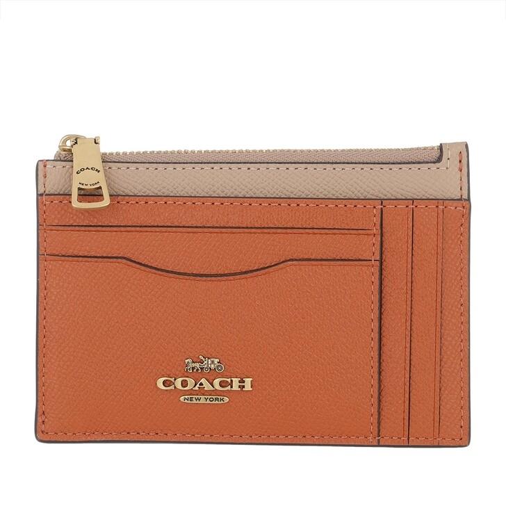 Geldbörse, Coach, Colorblock Large Flat Card Case Taupe Ginger Multi