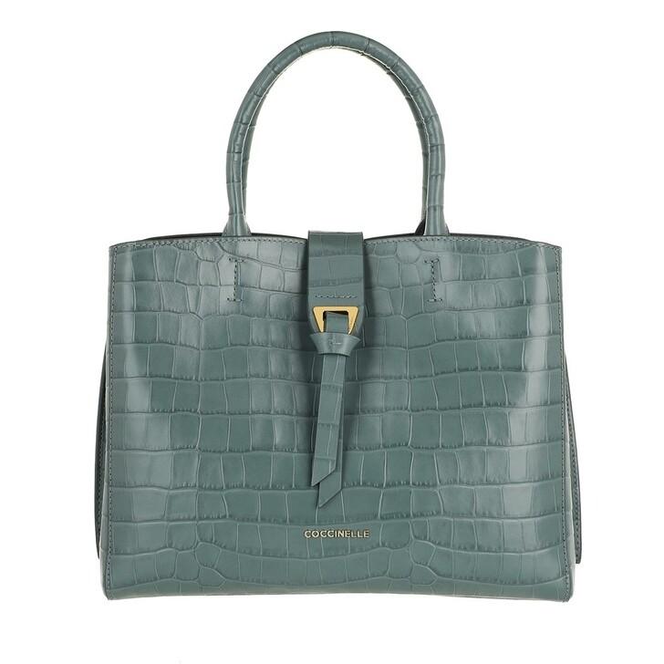 bags, Coccinelle, Alba Croco Shiny Soft Handbag Shark Grey