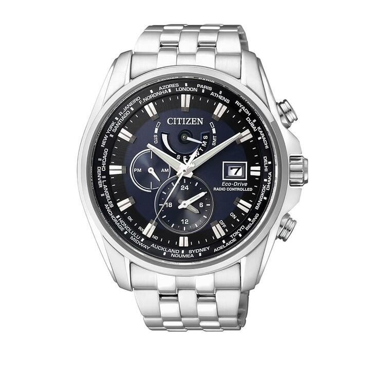 Uhr, Citizen, Radio Controlled Wristwatch Silver Black