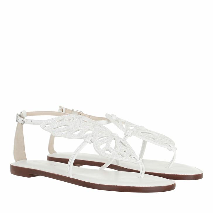 Schuh, Sophia Webster, Butterfly Flat Sandal White & White Glitter