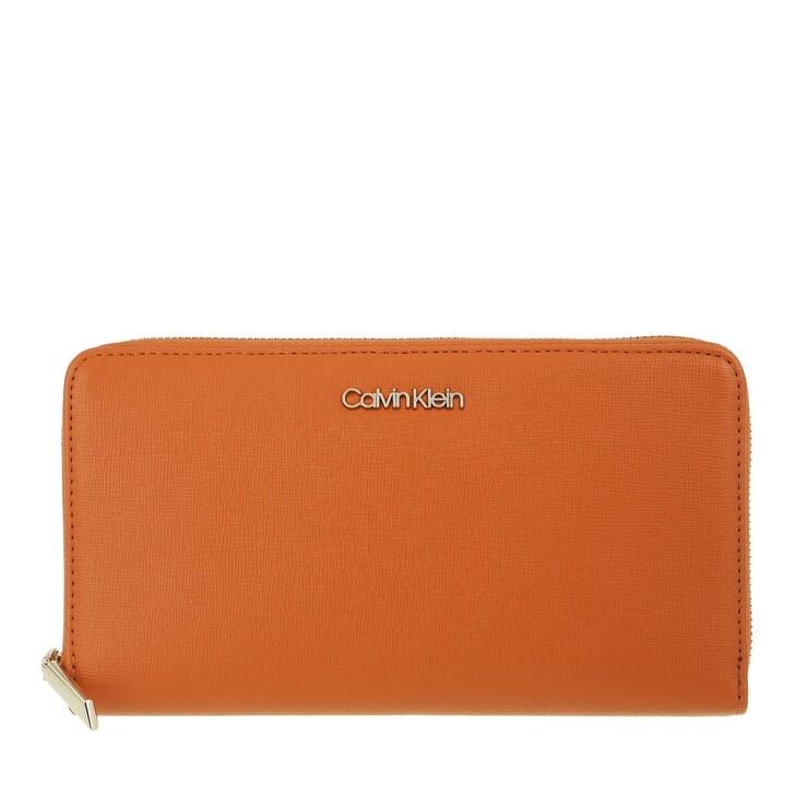 Geldbörse, Calvin Klein, Wallet Xl Saffiano Cognac