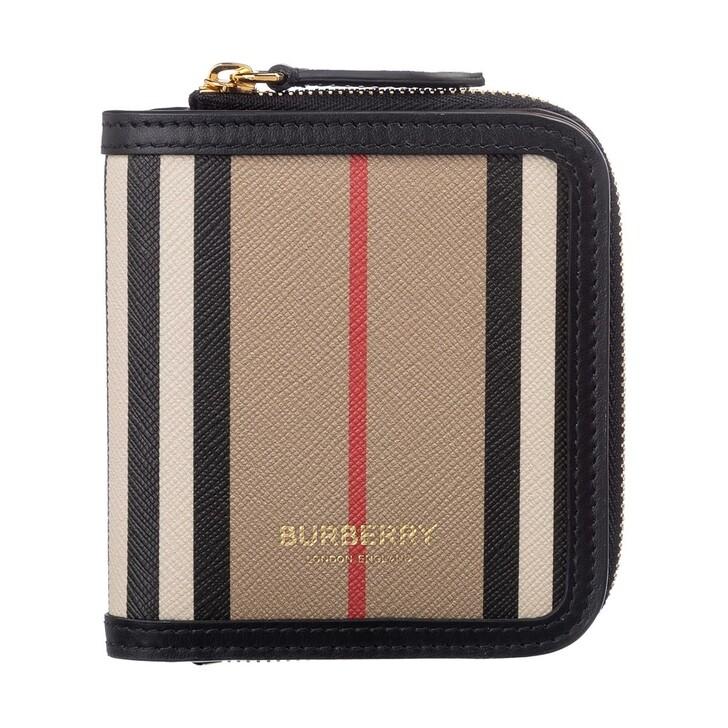 wallets, Burberry, Small Folding Icon Stripe Zipped Wallet Beige/Red/Black