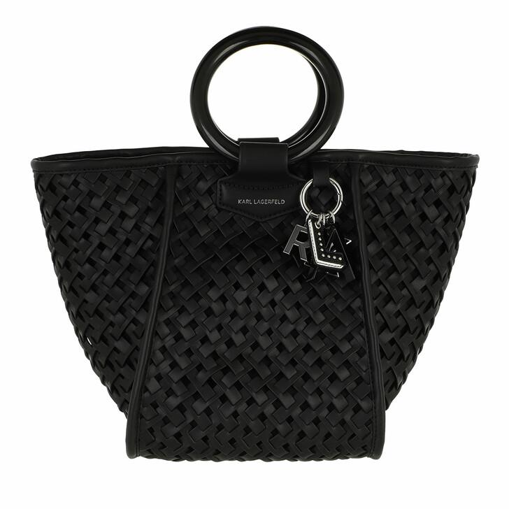 bags, Karl Lagerfeld, Basket Top Handle  Black
