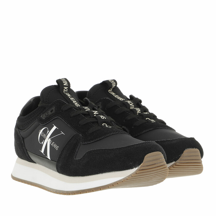 shoes, Calvin Klein, Runner Laceup Sneaker Sock Black