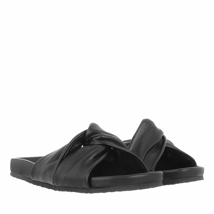 Schuh, Closed, Kyomi Slides Smooth Grainy Leather Black