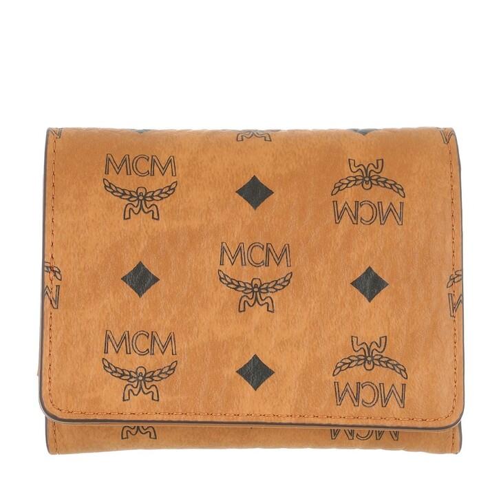 Geldbörse, MCM, Visetos Org 3 Fold Mini Wallet W Outer Zip  Cognac
